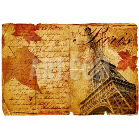 Romantic Vintage Letter From Paris Print Wall Art By Maugli-l