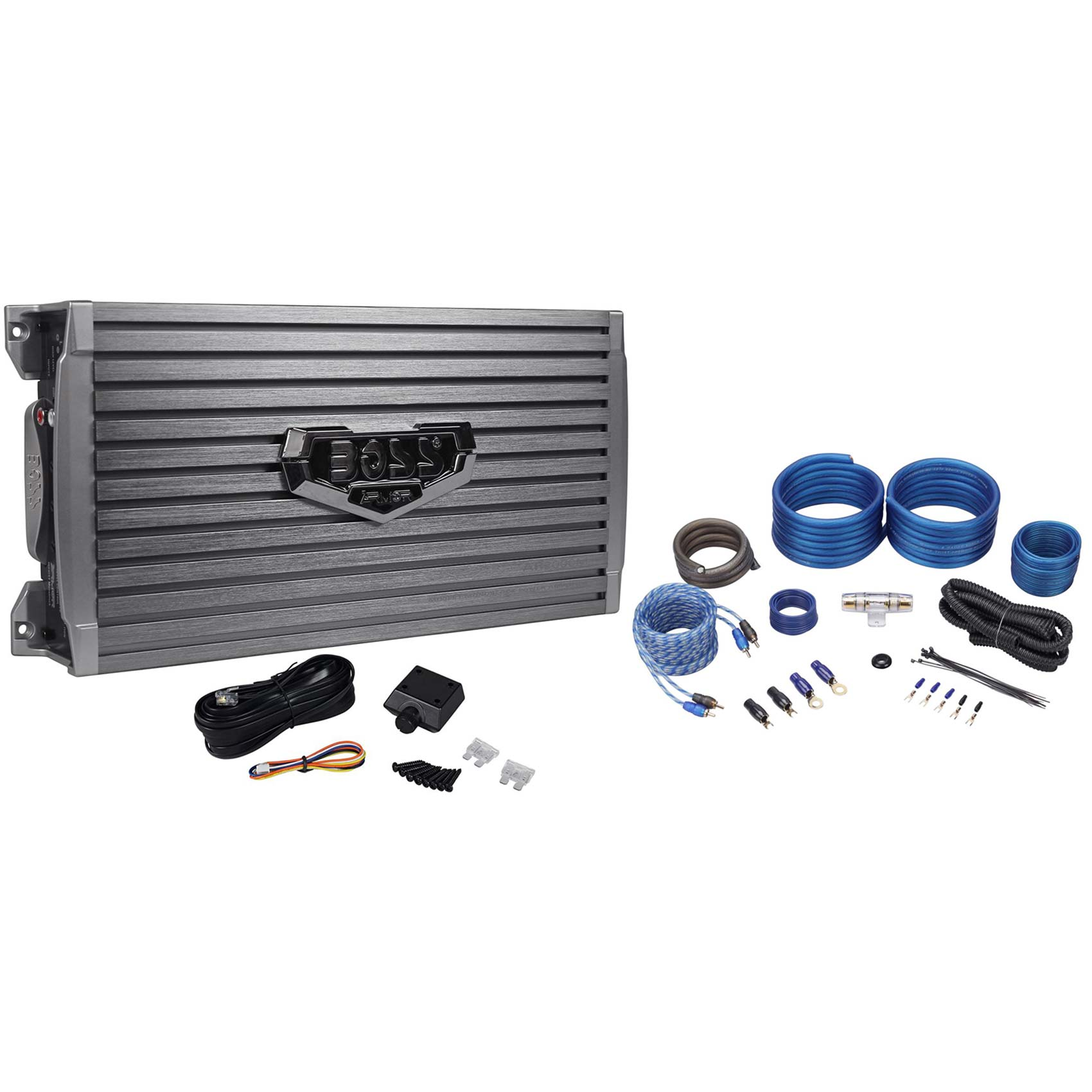 New Boss Armor AR2000M 2000W Mono Car Audio Amplifier+Amp Wire Kit+Bass Remote