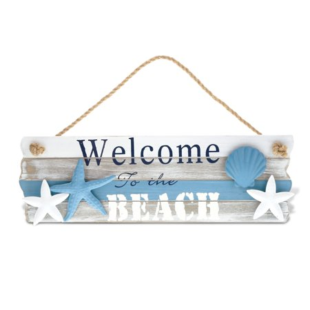 Handcrafted Wooden Sign (CoTa Global Nautical Aqua Sky ?Welcome to the Beach? Sign Intricate Art Wooden Coastal Beach Themed Wall D?cor Handcrafted Hand Painted Wood Home Accent Kitchen Decoration Unique Gift Souvenir)
