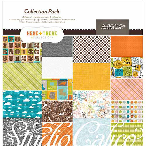 """American Crafts Here & There Collection Pack 12""""X12""""-18 Papers + Sticker Sheet"""