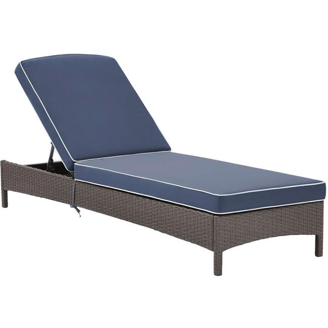 Palm Harbor Outdoor Wicker Chaise Lounge with Navy Cushions - Grey