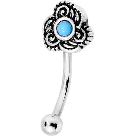 - Body Candy Steel Brilliant Blue Accent Flowering Twist Curved Eyebrow Ring 16 Gauge 5/16