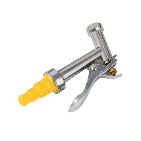 Metal Hose Nozzle - Garden Car Metal Water Spray  Washing Hose Nozzle Silver Tone Yellow