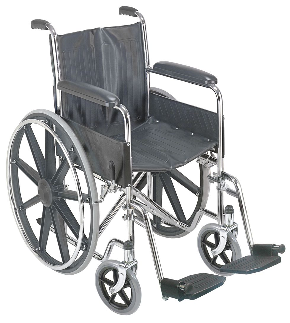 DMI Wheelchair, 250 lb, 18 In Seat, Silver - 503-0658-0200