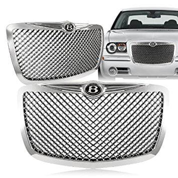 2005 - 2010 Chrysler 300/300C Chrome Front Mesh Hood Bumper Grille w/ B Emblem