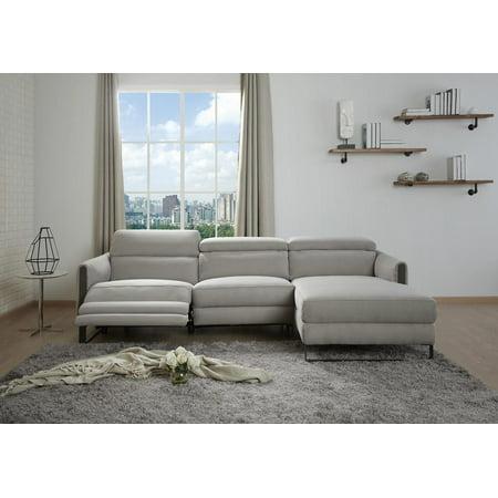 Contemporary Gray Right Hand Chase Recliner Sofa Microfiber J&M Furniture