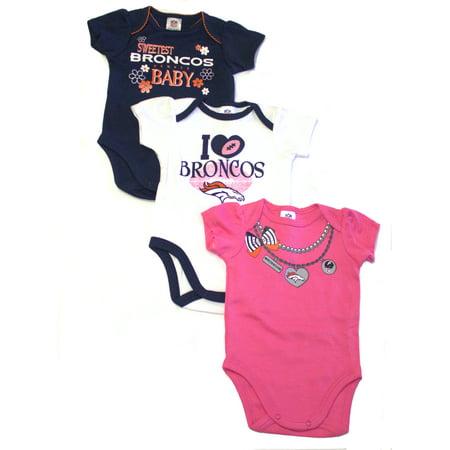 NFL Denver Broncos Baby Girls Short Sleeve Bodysuit Set, - Nfl Onesie Set