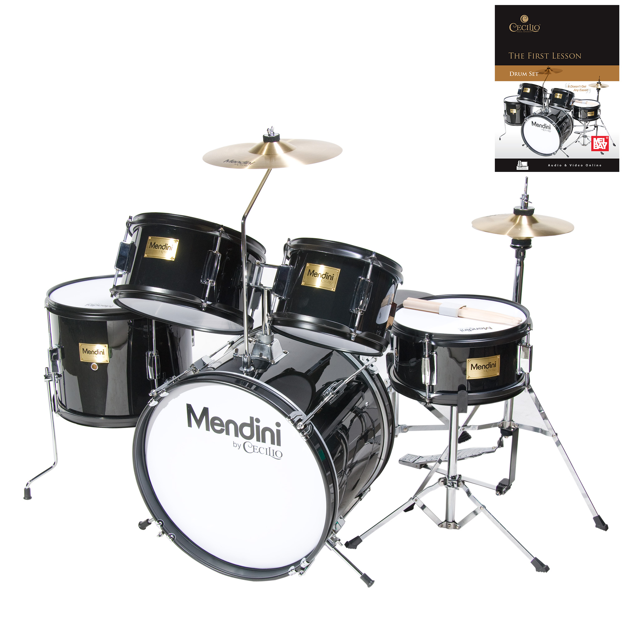 """Mendini by Cecilio 16"""" 5-Piece Complete Kids / Junior Drum Set with Adjustable Throne, Cymbal, Pedal, Drumsticks & Lesson Book, Metallic Black, MJDS-5-BK"""