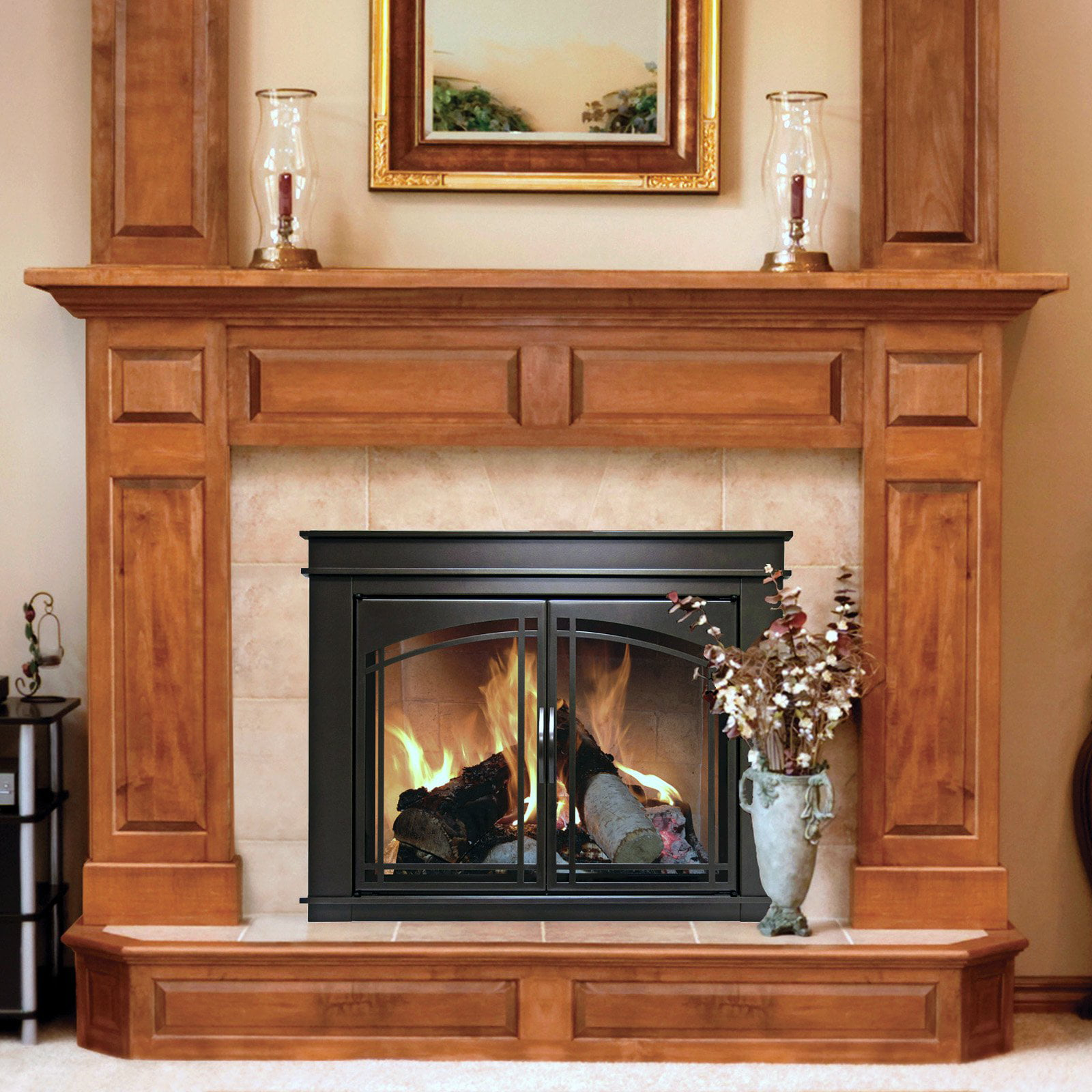 Pleasant Hearth Fenwick Cabinet Fireplace Screen And Arch Prairie Smoked  Glass Doors   Oil Rubbed Bronze   Walmart.com