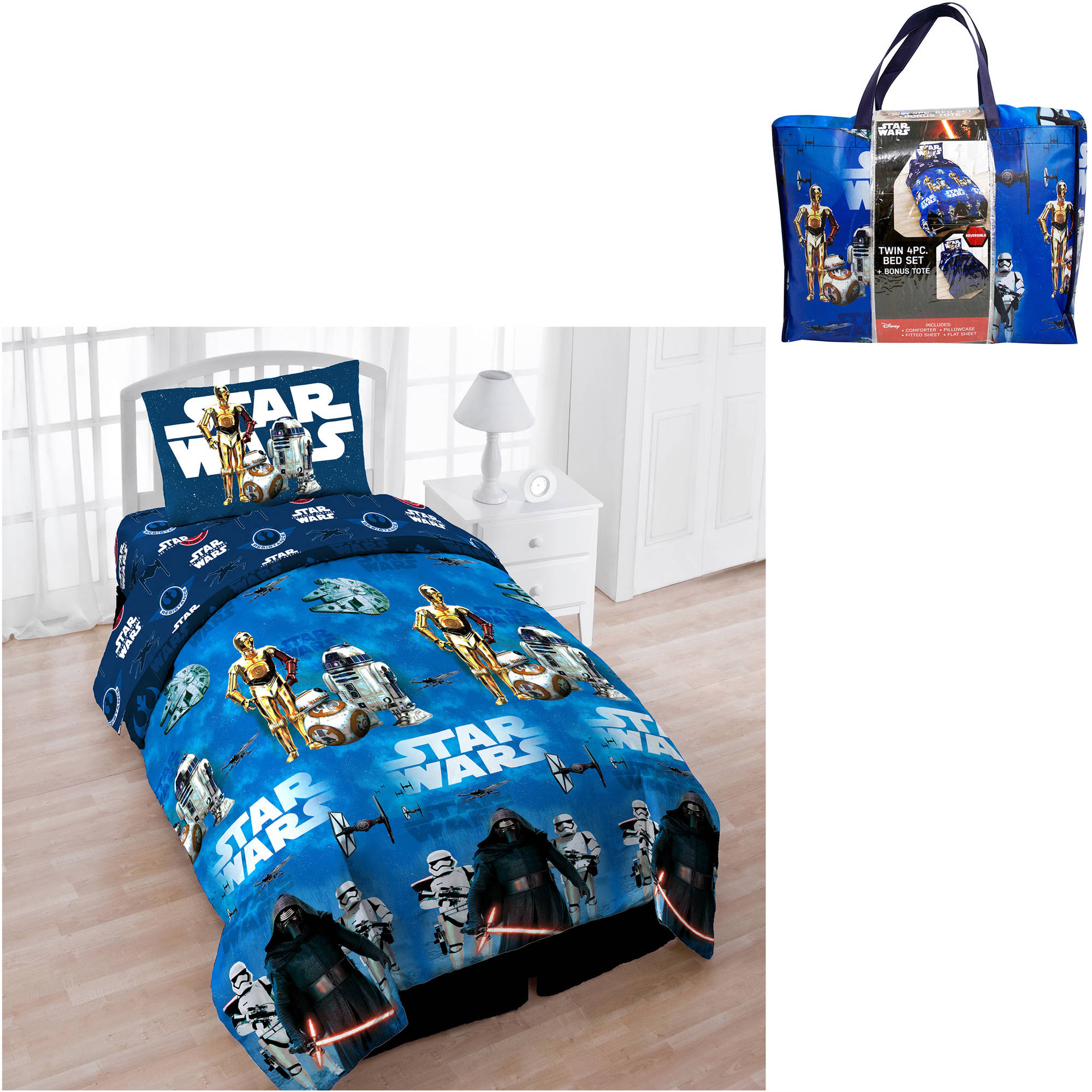 jay franco & sons in star wars episode 7 4pc bed set - walmart