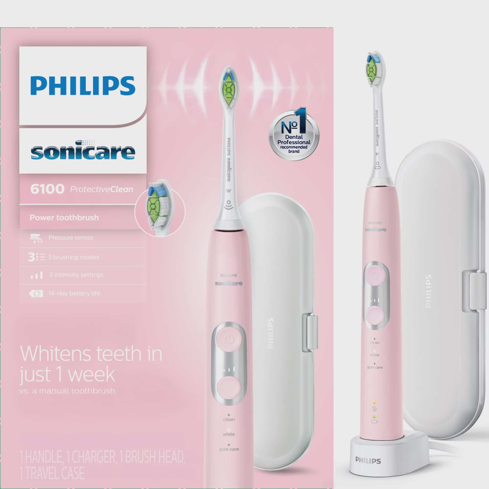 Philips Sonicare ProtectiveClean 6100 Whitening, Rechargeable Electric Toothbrush, Pastel Pink HX6876/21