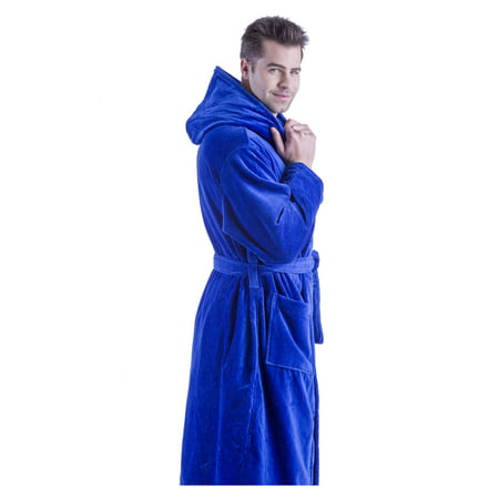 Hooded Men's Robe, Terry Cover Up Robe for Women, ROYAL BLUE, 2XL/3XL (Mens Hooded Robe)