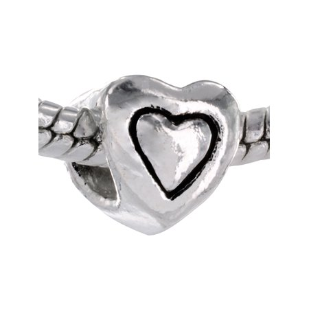 Pacific Charms Silver Plated Heart Shaped Charm Bead