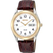 Seiko Men's Solar SNE056 Brown Leather Quartz Watch