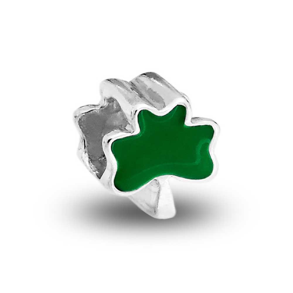 Green lucky shamrock necklace four leaf clover charm emerald green - Bling Jewelry 4 Leaf Clover Charm 925 Sterling Silver Green Shamrock Irish Flower Bead Walmart Com