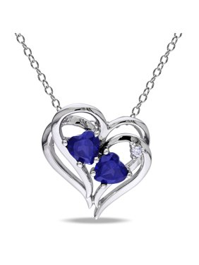 1-1/8 Carat T.G.W. Created Blue Sapphire and Diamond-Accent Sterling Silver Heart Pendant