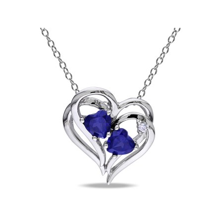 1-1/8 Carat T.G.W. Created Blue Sapphire and Diamond-Accent Sterling Silver Heart Women's Necklace Pendant, 18