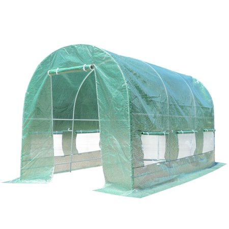 GHP 11.5' Long Steel Frame & PE Fabric Greenhouse Plant Tent w 6 Rolling-Up Windows ()