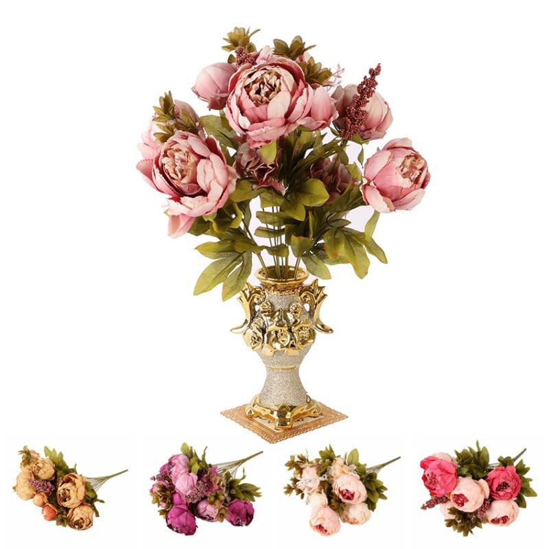 ENJOY Fake Artificial Silk Flowers European Fall Vivid Peony Leaf Wedding Home Party Decoration
