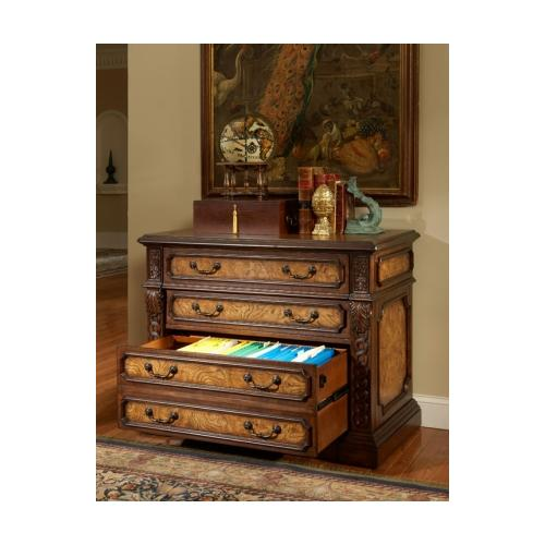 Ambella  08947-350-001 Rawling File Cabinet with Carved Wood Detailing  2 Single Drawers  and Single Double-Deep Drawer