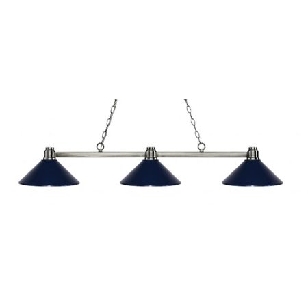 3 Light Island, Billiard Light With Navy Blue Metal Shades 3 Shade Billiard Light