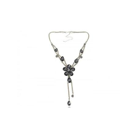 Silver Tone Metallic Crystal Gem Rhinestone Daisy Flower Floral Fancy Necklace Floral Gemstone Necklace