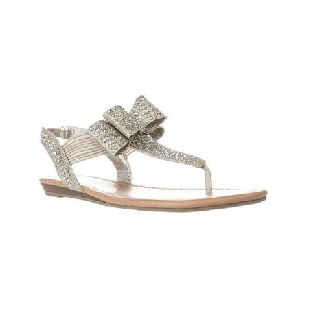 - Womens MG35 Shayleen Rhinestone Bow T-Strap Sandals, Silver