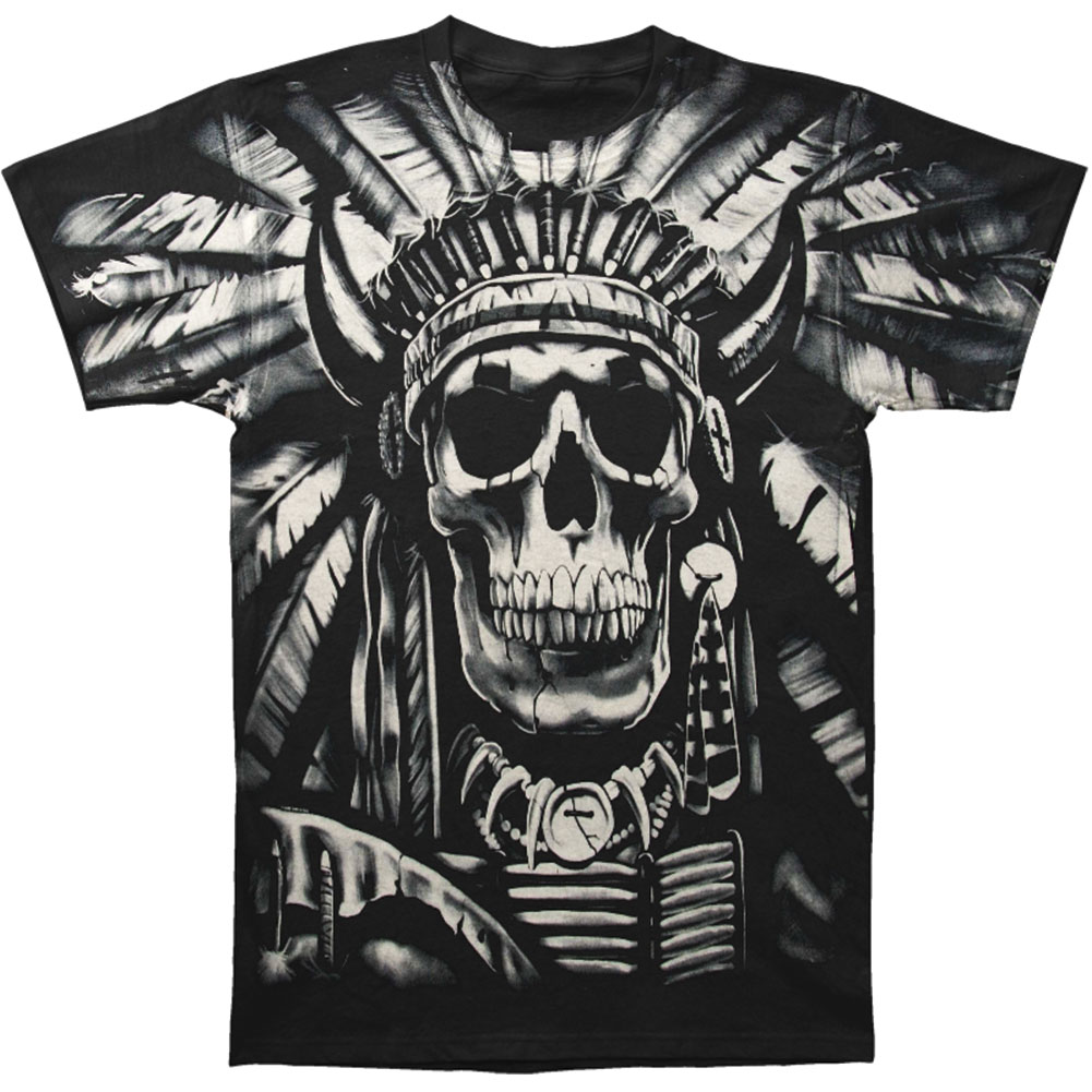 Fantasy Men's  Indian Skull T-shirt Black