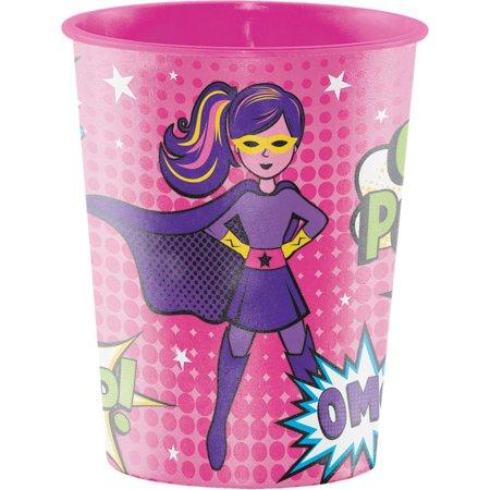 Club Pack of 12 Vibrant Colors Girl Superhero Themed Keepsake Cups 4.5