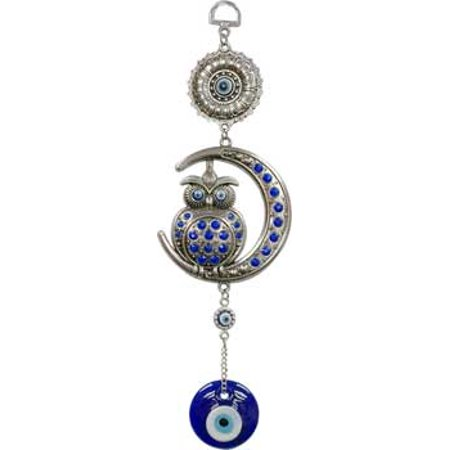 Raven Blackwood Imports Wind Chime Evil Eye Ward Off Negativity Wise Owl Comfort Your Spirit Indoor Outdoor Use](Owl Wind Chimes)