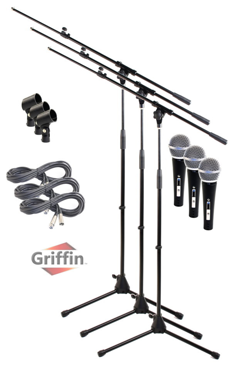 Telescoping Microphone Boom Stand (3 Pack) by Griffin Professional Cardioid Dynamic Vocal... by Griffin