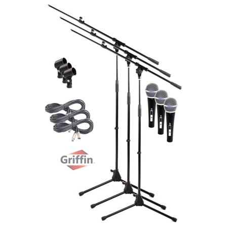 Telescoping Microphone Boom Stand (3 Pack) by Griffin Professional Cardioid Dynamic Vocal Microphones with Clip Singing Microphone for Music Stage Performances & Studio Recording XLR Mic Cable Package