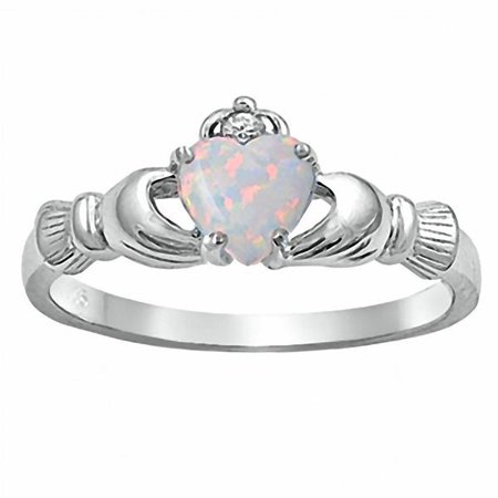 Fidelity: 0.765ct Heart cut Synthetic Fiery White Opal Claddagh Ring Sterling Silver sz 8.5