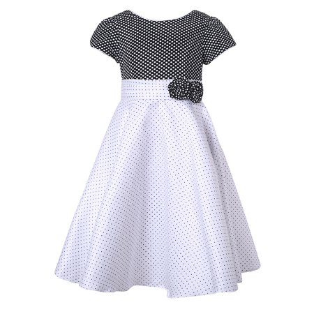 Richie House Girls White Black Pintuck Dotted Bow Polished Dress (Black And White Bow Dress)