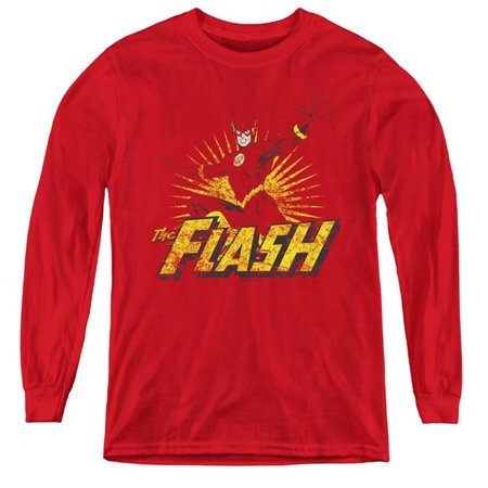 Trevco Sportswear JLA227-YL-1 JLA & Flash Rough Distress Youth Long Sleeve T-Shirt,  Red - Small ()