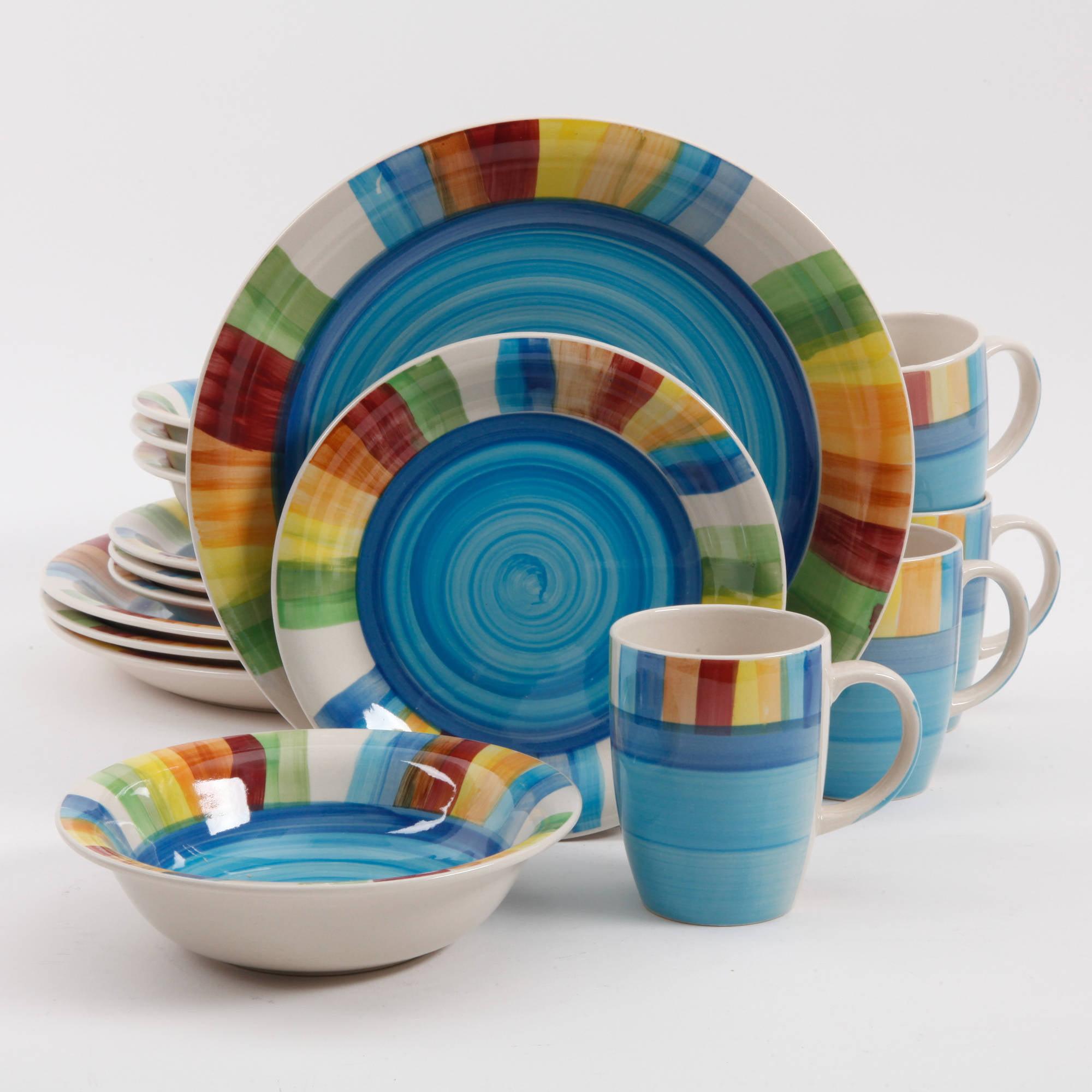 & Gibson Carmelita Stripes 16-Piece Dinnerware Set - Walmart.com