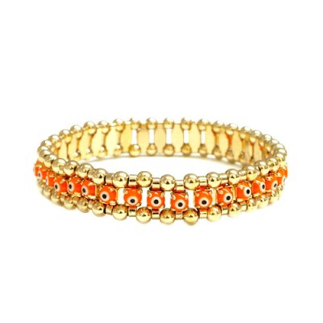 C Jewelry 30 mm. Orange Evil Eye With Gold Stretch Bracelet