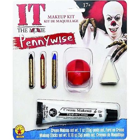 Pennywise Makeup Kit Adult Costume It Horror Movie Clown Scary Evil Stephen King](Scary Clowns Makeup)
