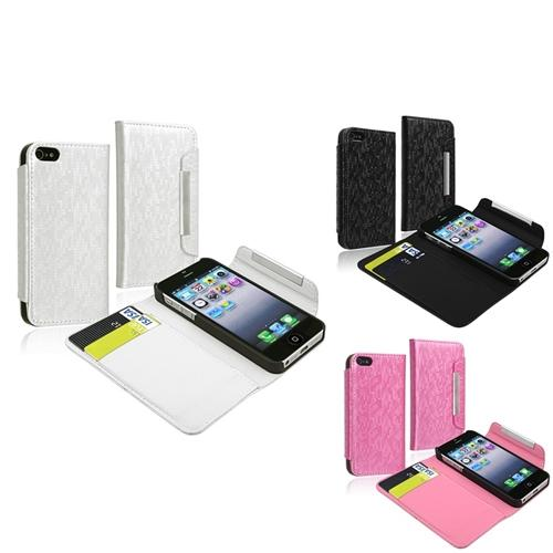 INSTEN 3x Wallet Leather Case Cover w/ Card Holder For iPhone 5S 5 G White/Black/Pink