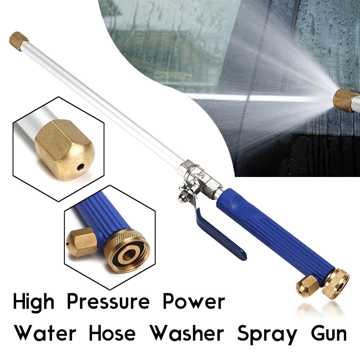 "18"" 46.5cm Aluminum High Pressure Power Washer Spray Nozzle Water Gun Hose Wand Attachment"