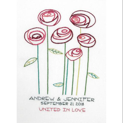 """Simple Roses Wedding Record Crewel Embroidery Kit-9""""X12"""" Stitched In Cotton And Wool"""