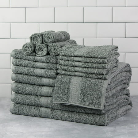 Mainstays Basic Bath Collection, 18-Piece Towel Set, Light School Grey (4 Bath, 4 Hand, 10 Wash)