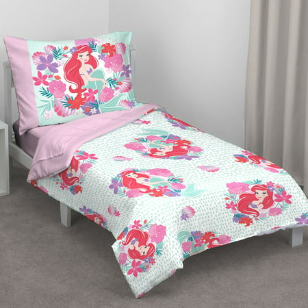 Disney Ariel Sea Garden 4 Piece Toddler Bed Set - Comforter, Fitted Sheet, Flat Top Sheet, Reversible Standard Size Pillowcase, Pink and Aqua
