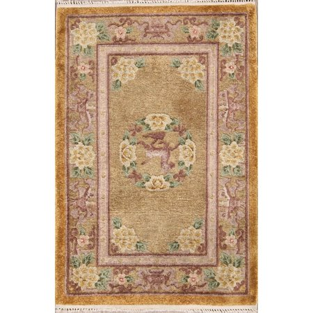 RugSource Silk 2x3 Antique Art Deco Chines Hand-Knotted Oriental Area Rug Art Deco 5 Light Antique