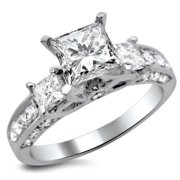 Noori Collection Noori 14k White Gold 1 1/2ct TDW 3-stone Princess Cut Diamond Engagement Ring