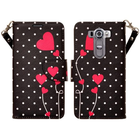 Leather Wallet Cover LG V10 Case, Slim Magnetic Flip Kickstand Wrist Strap - Polka Dot Hearts ()