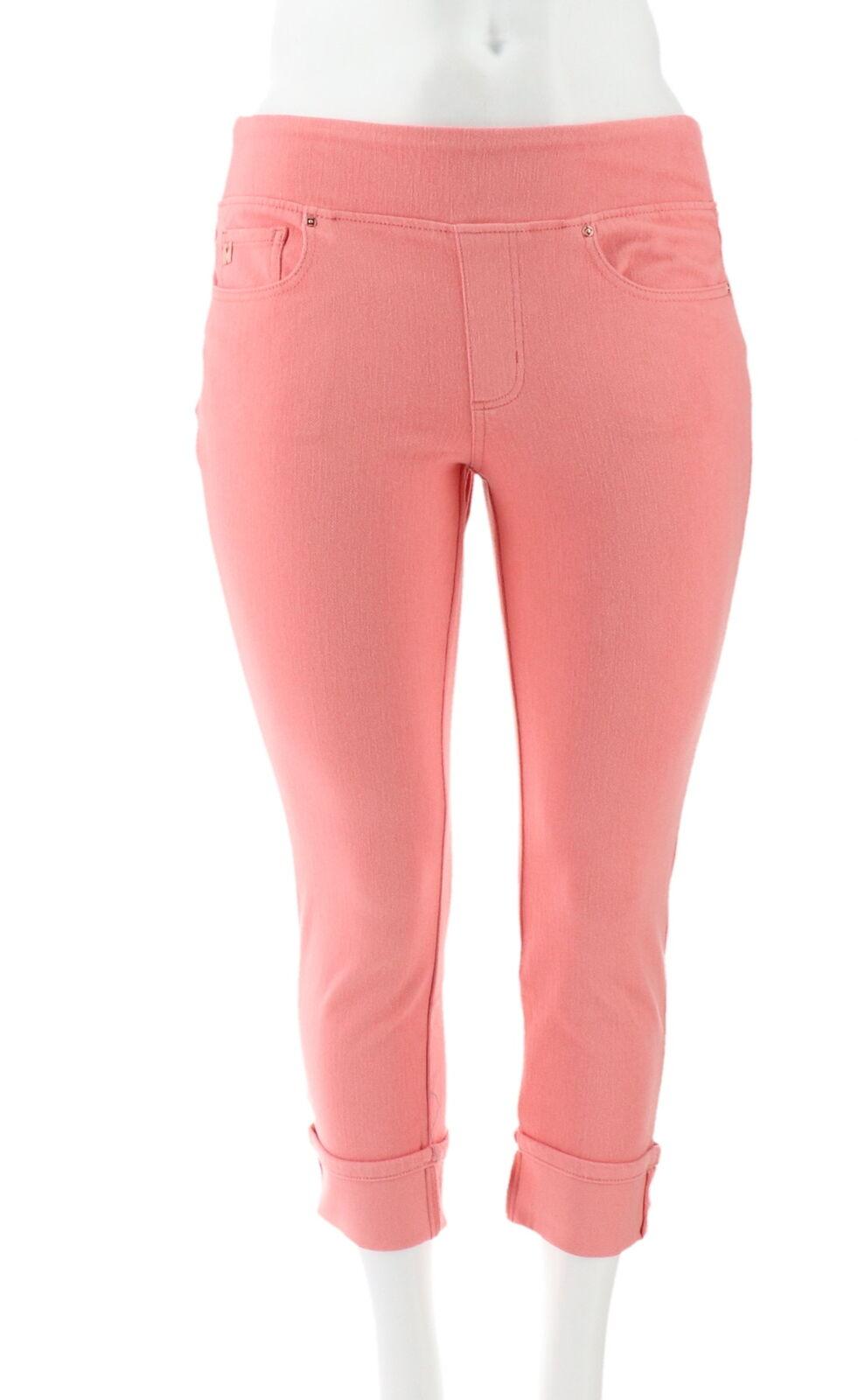 Belle Kim Gravel Flexibelle Cuffed Jeans White 10 NEW A345862