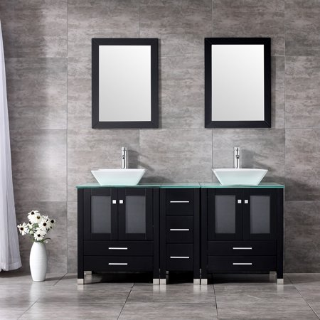60'' Double Bathroom Vanity Combo Set Double Porcelain Vessel Sink Solid Wood Cabinet Glass Top w/ Mirror (Glass Sink Vanity Set)