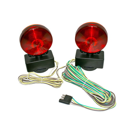 MaxxHaul 80778 - 12V Magnetic Towing Light Kit - Dual Sided for RV, Boat, Trailer and More - DOT Approved - Hoppy Tow Vehicle