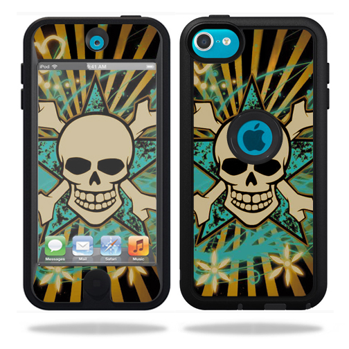 Mightyskins Protective Vinyl Skin Decal Cover for OtterBox Defender Apple iPod Touch 5G 5th Generation Case Skull Rays